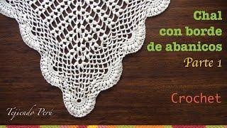 Chal triangular o punta calada con borde de abanicos tejida a crochet (Parte 1)
