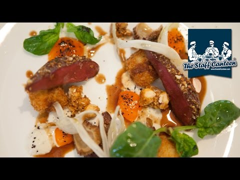 2 Michelin-starred chef Mark Froydenlund creates scallop, pigeon and feta cheese dishes.