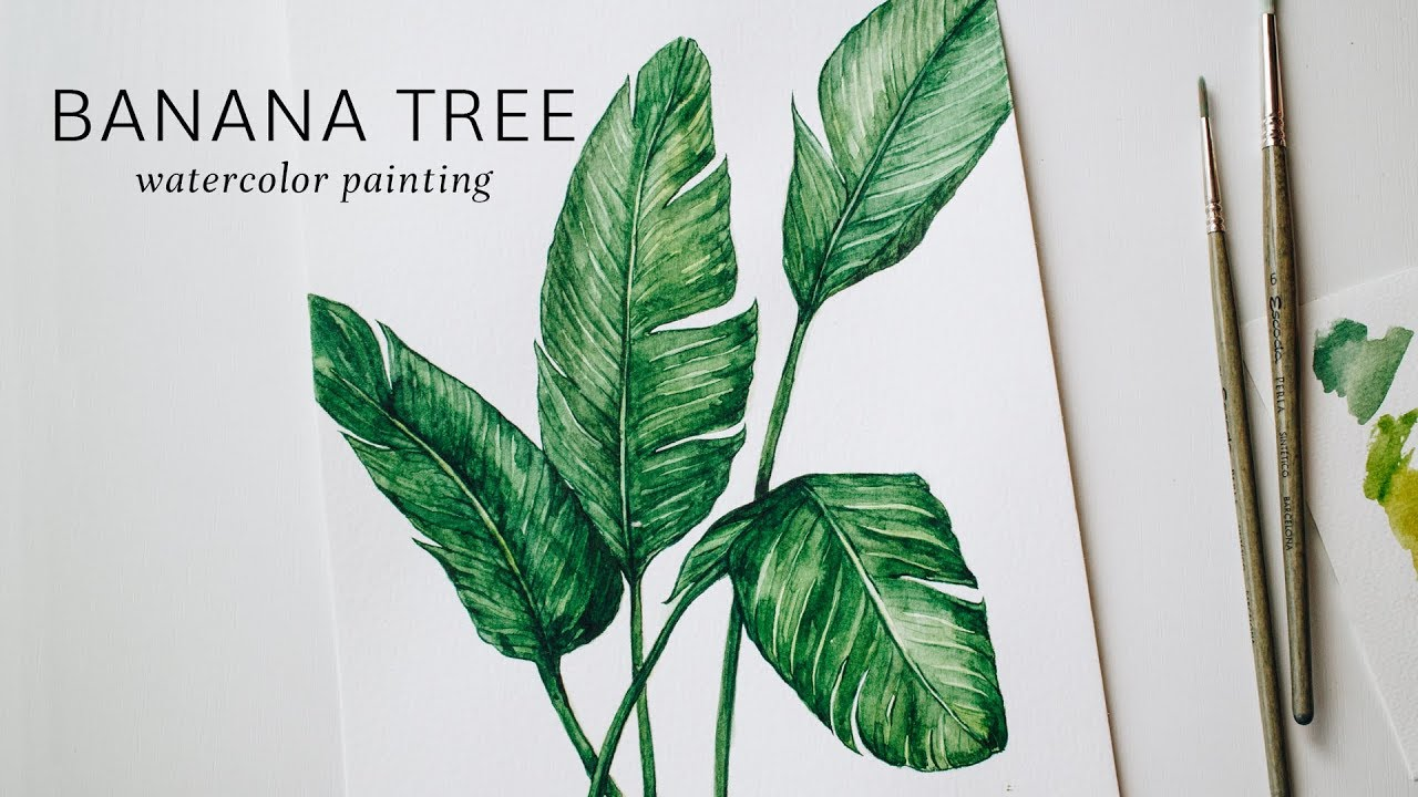 Banana Tree · Watercolor Painting Time Lapse · HOUSE PLANTS