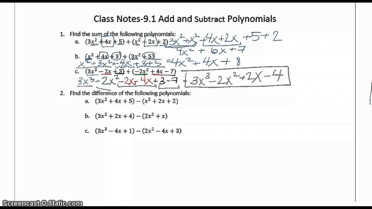worksheet Adding And Subtracting Polynomials 9 1 class notes adding and subtracting polynomials youtube polynomials