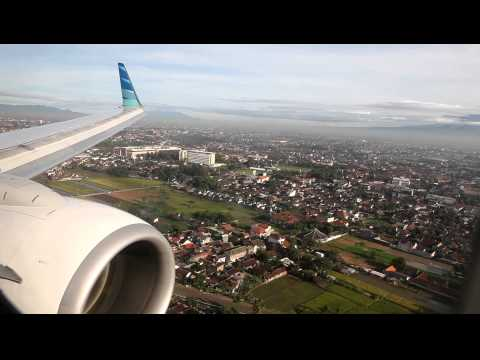 Garuda Indonesia landing at Adi Sutjipto Airport in Jogjakarta Travel Video