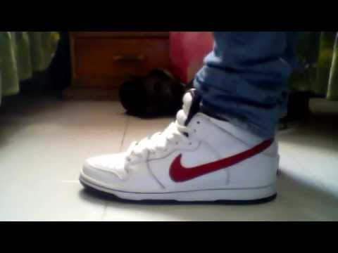 new product 7c6e0 401fa Nike Sb Mid Pro White Sport Red on feet skinny jeans
