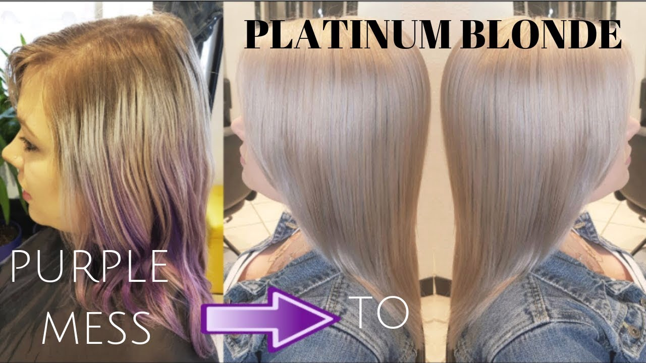 from purple mess to platinum blonde hair youtube