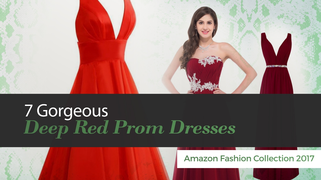 7 Gorgeous Deep Red Prom Dresses Amazon Fashion Collection 2017 ...