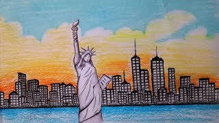 statue liberty york easy drawing step draw scenery drawings paintingvalley getdrawings