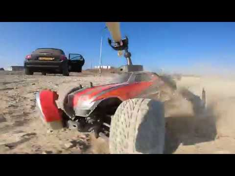 Rc car racing with a custom made 360 degree gravity mount for GoPro 6
