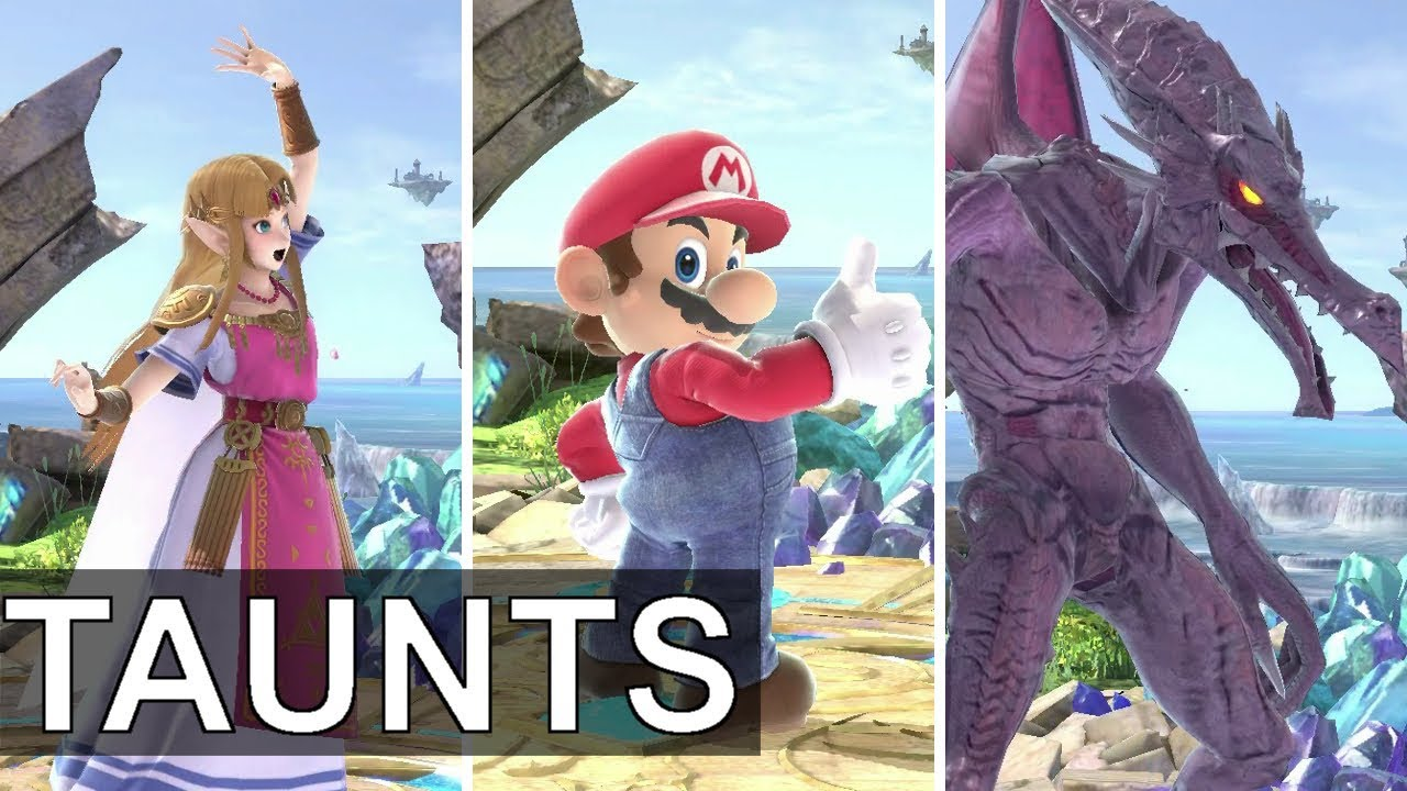 Super Smash Bros Ultimate All Character Taunts Max Zoom No Background Music Youtube