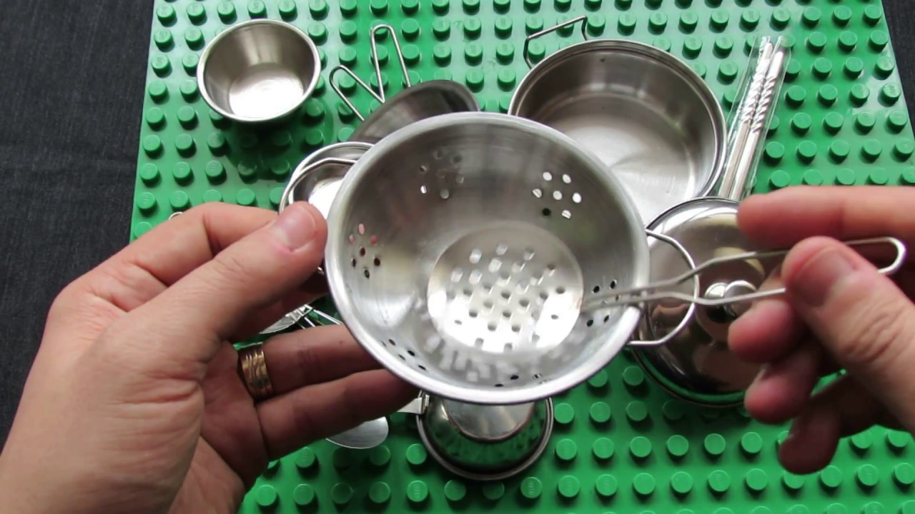 Unboxing Stainless Steel Kitchen Utensils Toys 16pcs For Children Youtube