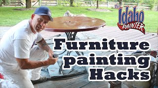 How To Painting A Patio Furniture Table Top.  Furniture Painting Hacks.