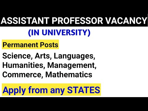 Assistant Professor Vacancy 2020 | University Recruitment | Permanent Job
