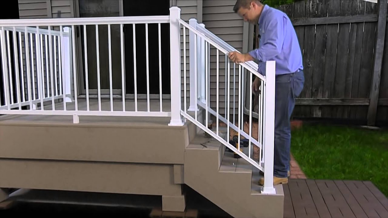 How To Install The Harmony Railing Aluminum Stair Panel Youtube   Pre Assembled Stair Railing   Deckorators   Balusters   Pressure Treated   Stainless Steel   Wood