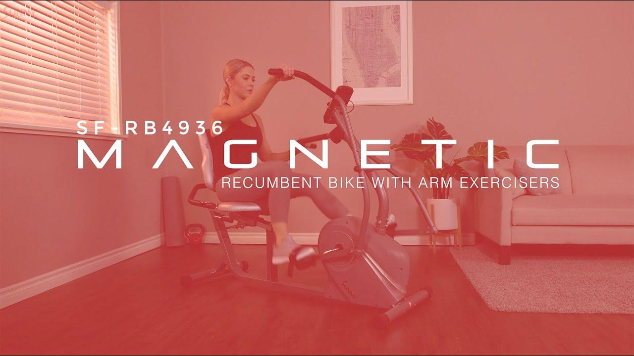 Cross Trainer Magnetic Recumbent Bike SF-RB4936   Sunny Health & Fitness
