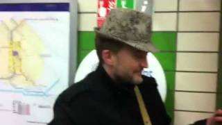 "Playing ""Kimmie"" song for Kim Calan at Caledonian Road tube station"