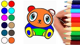 How To Draw Baby panda, Moose, Butterfly, Bird, Drawing Coloring page for kids