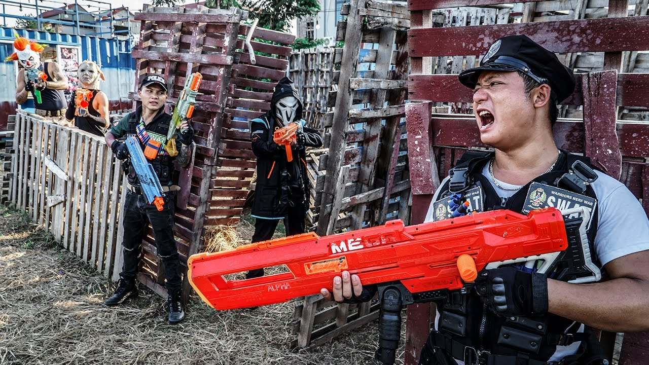 LTT Films : The Expendables S.E.A.L X Nerf Guns Fight Crime Group Black Man Mask War Zone Container