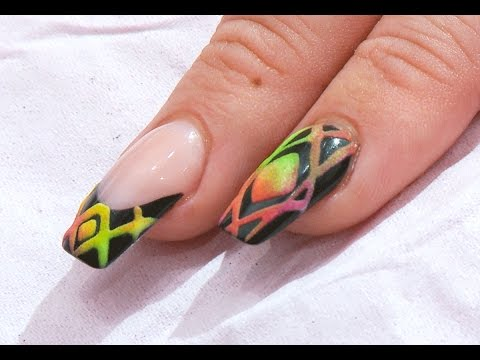Matte on Gloss - Neon Aztec on Black Acrylic and Gel Nail Art Design Tutorial