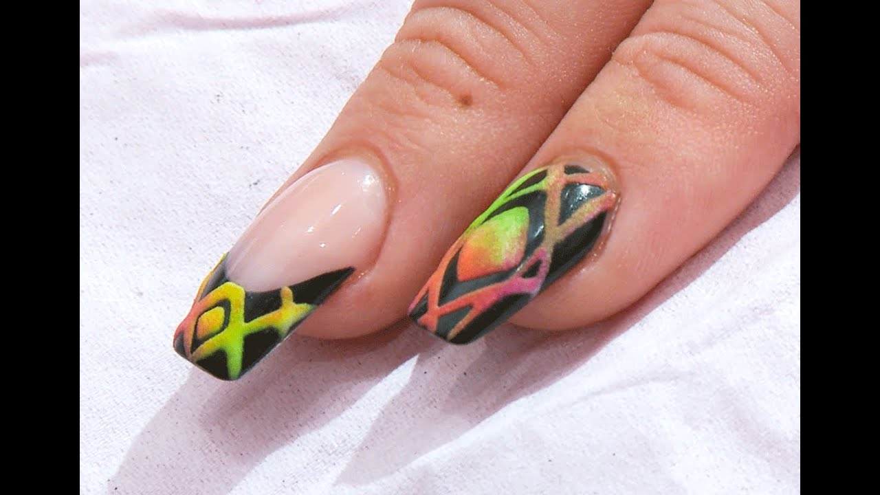 Matte on Gloss - Neon Aztec on Black Acrylic and Gel Nail Art Design ...
