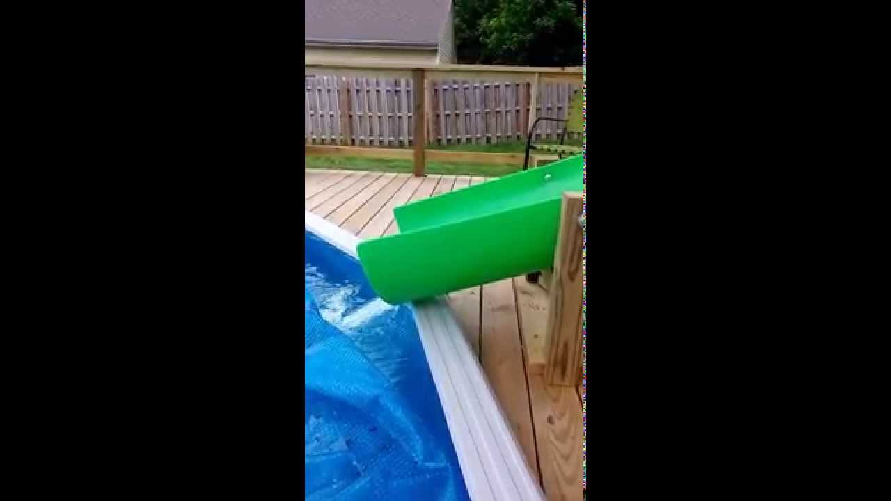 homemade backyard water slide above ground pool youtube - Diy Above Ground Pool Slide