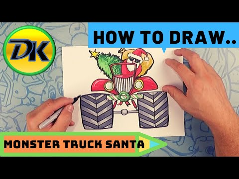 How To Draw Monster Truck Santa
