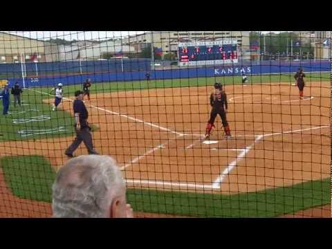 Maggie Hull Dives into Home Plate with a Head First Slide