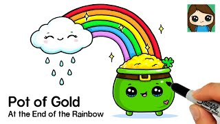 How to Draw a Rainbow and Cloud with Pot of Gold