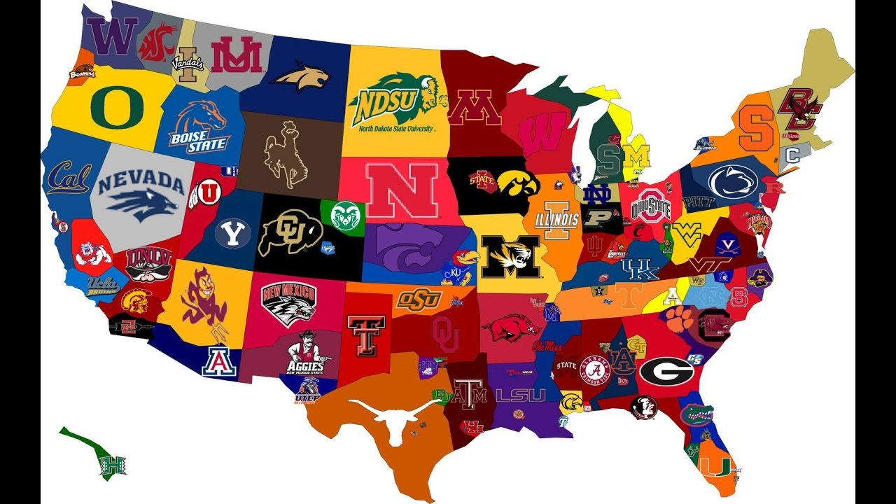 college sports map football teams colleges team spirit wear usa state most universities sport rock expensive america states united maps