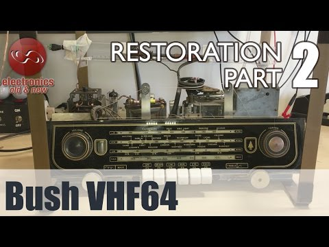 Bush VHF64 tube radio restoration - Part 2. Cleaning, cap replacement, and the first power-up.