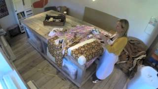 Buttoned Footstool Upholstery Time Lapse