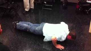 Chimel doing push-ups!
