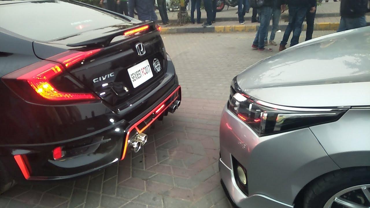 Corolla Vs Civic 2017 >> Honda Civic X VS Toyota Corolla Grande    Pakwheels Lahore Auto Show - YouTube