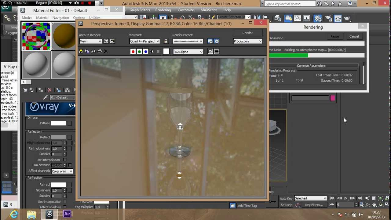 3ds max tutorial materiale vetro vray 2 0 youtube - Materiale specchio 3ds max ...