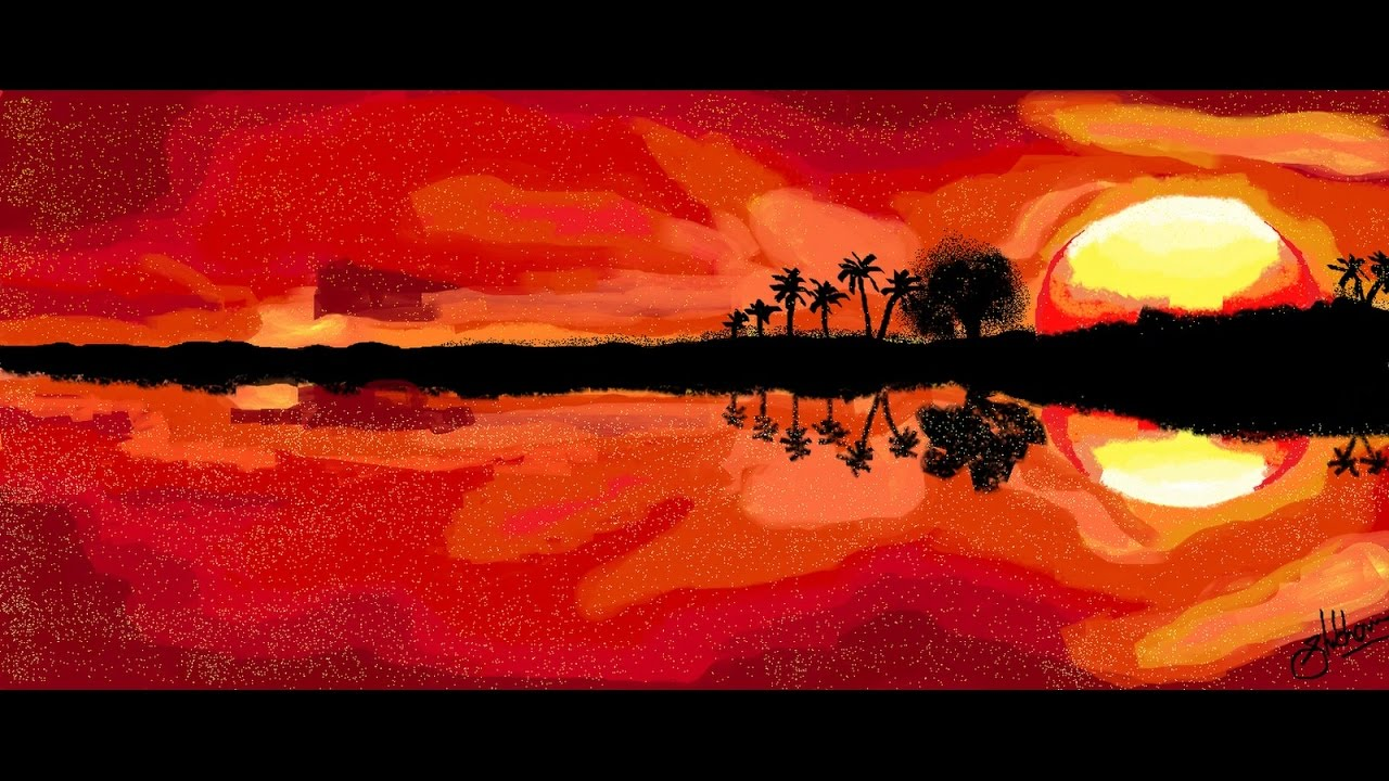 Very Easy And Beautiful Painting Of Sunset View On Simple Microsoft Paint Tutorial