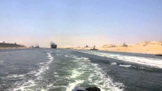 مرور اول سفينة فى قناة السويس الجديدة أمام منصة الافتتاح25يوليو 2015