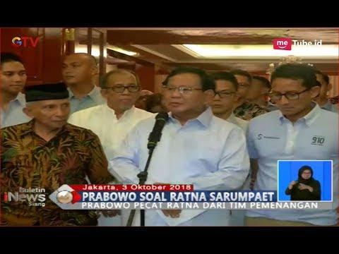 Prabowo Pecat Ratna Sarumpaet dan Minta Maaf ke Publik Soal kebohongan Penganiayaan - BIS 04/10