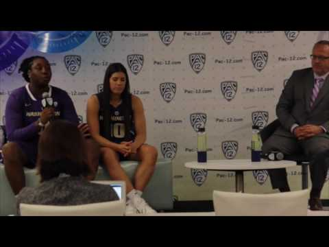Chantel Osahor and Kelsey Plum at Pac-12 Media Day