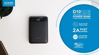 ACMIC D10 10000mAh Mini PowerBank Digital Display & 2A Fast Charge