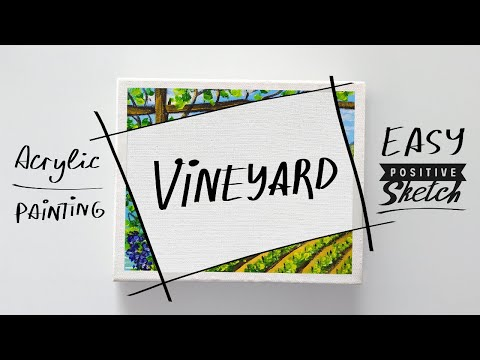 Acrylic painting, How to paint grapes, Vineyard, Landscape