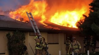 Large Fire - 4 Apartments Burn - Firefighting Footage - Modesto, California