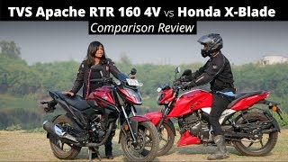 TVS Apache RTR 160 4V vs Honda X-Blade Comparison Review | Express Drives