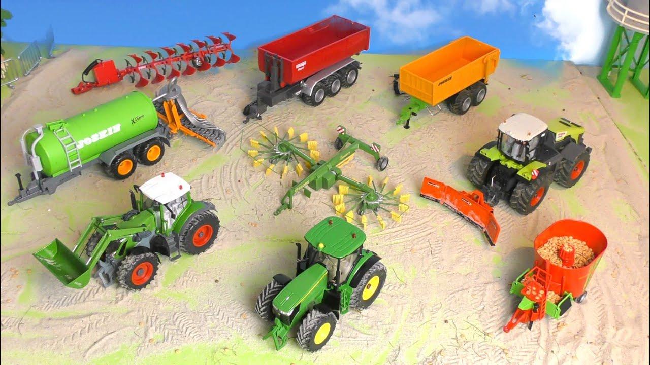 Trecker, Güllewagen, Traktor & Pflug - Bauernhof Fahrzeuge - Bauernhof Kinder - Farm Vehicles