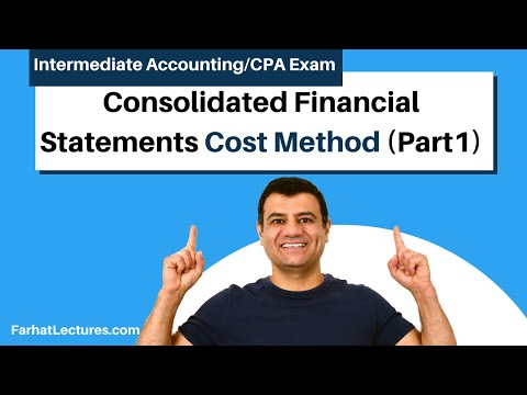 Consolidated financial statements cost method advanced accounting CPA exam FAR ch 4 p 2