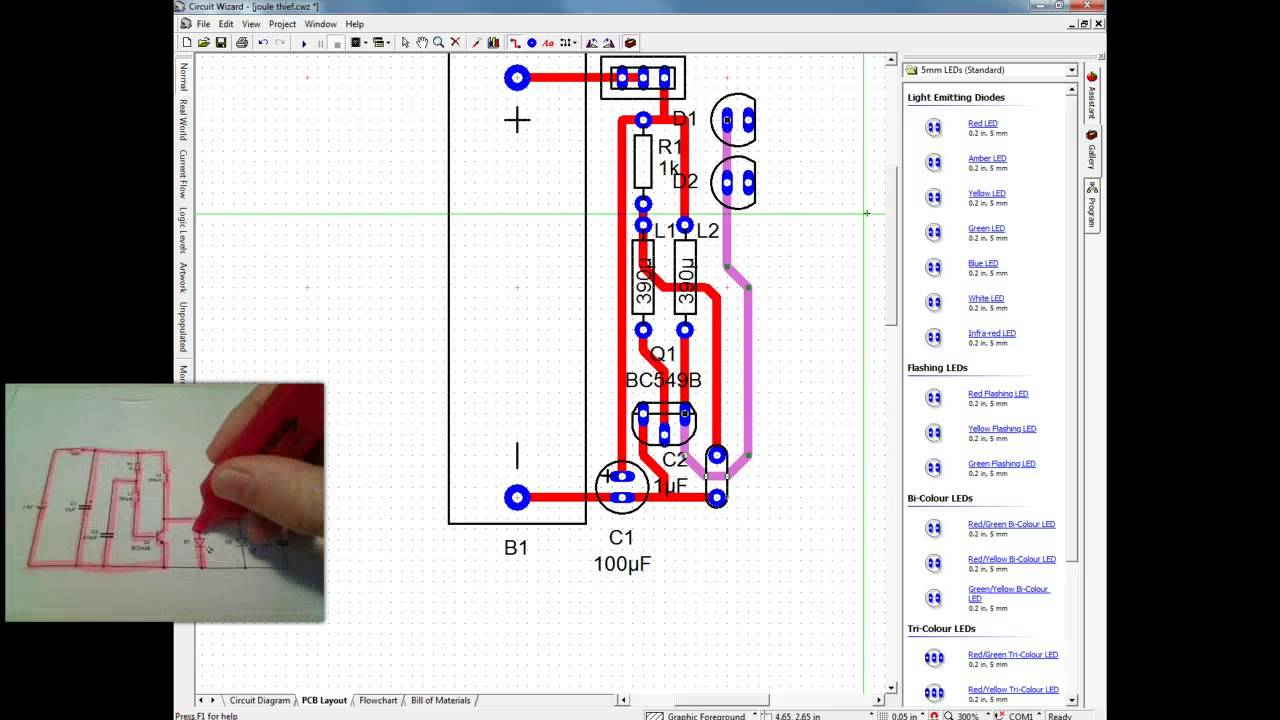 Creating A Pcb Manually In Circuit Wizard Youtube Electronic Dice Using Ic Cd4017