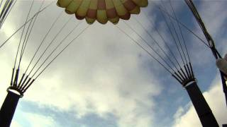 Winter round parachute jump from AN-2 in Horovice, Czech Republic