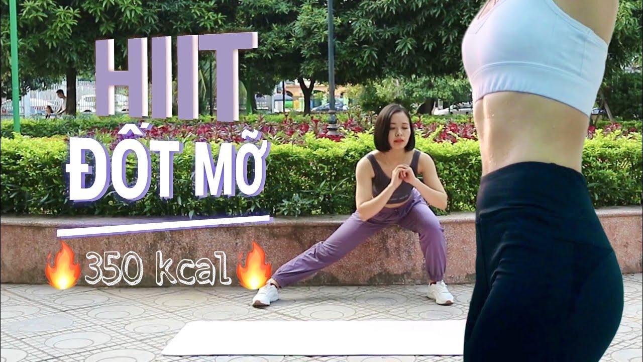Bài tập HIIT ĐỐT 350 KCAL –  Cường độ cao ngắt quãng | HIIT workout BURN 350 KCAL | Minh Ngoc