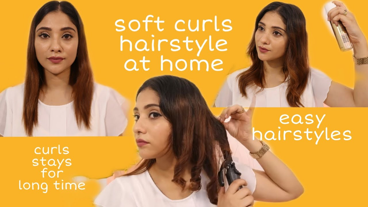bouncy loose curl hairstyles at home || shystyles