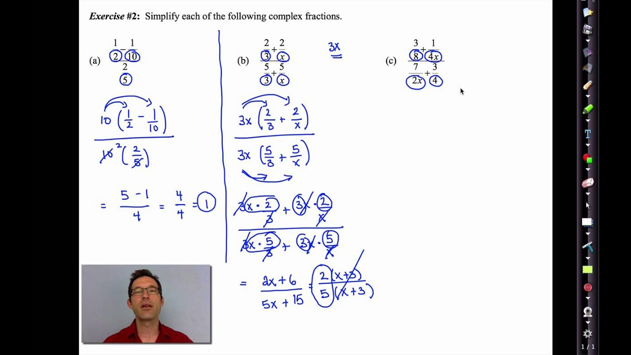 Common Core Algebra Iiunit 10lesson 9plex Fractions Youtube