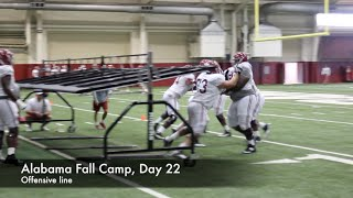 Alabama offensive line drills at fall practice, day 22