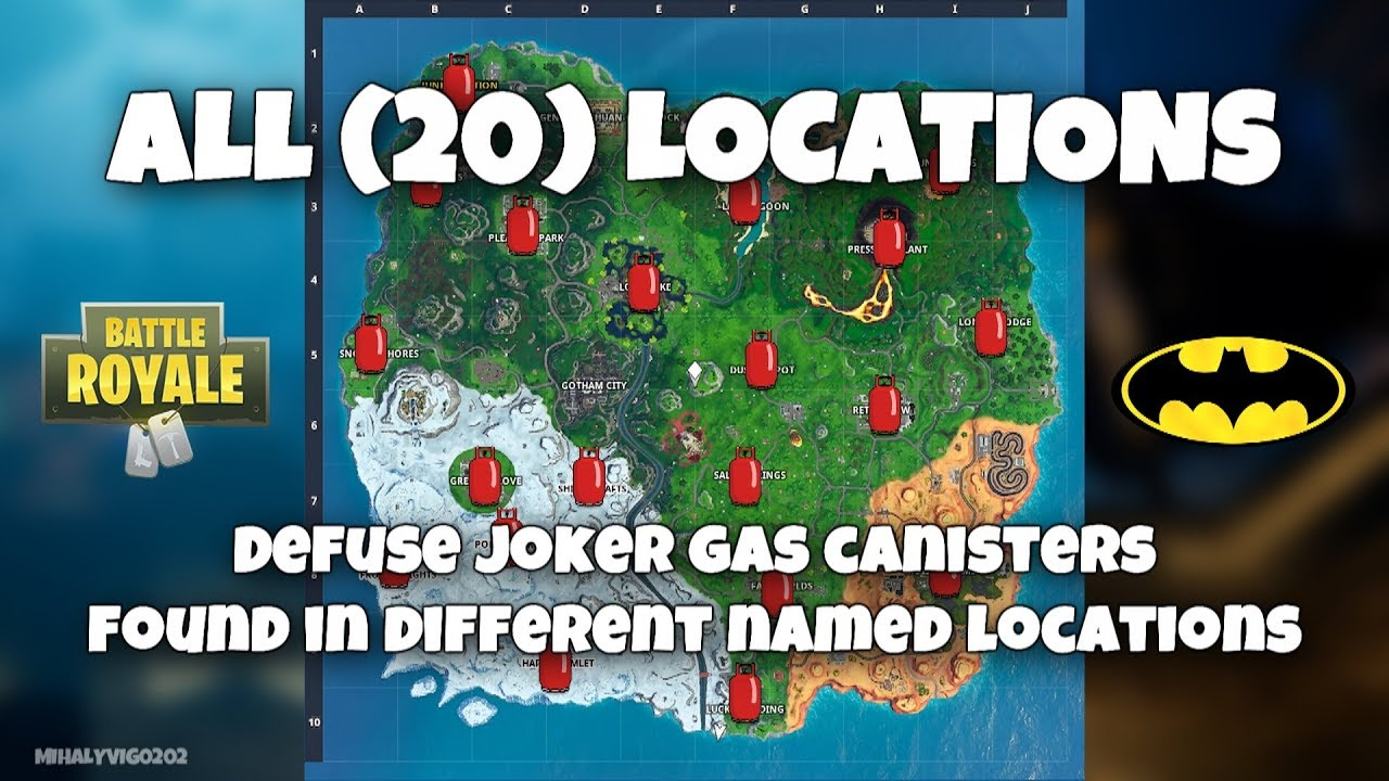 All Joker Gas Canisters Location Welcome To Gotham City Fortnite Season X