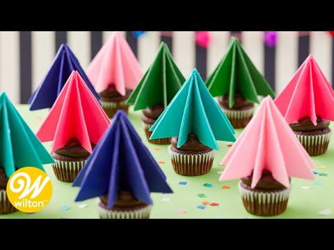 Cupcakes con Mini Arboles de Candy Melts