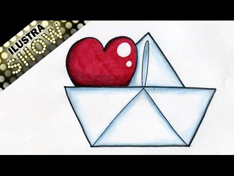 Como dibujar un corazon en un barco de papel corazones - Papel para dibujar ...